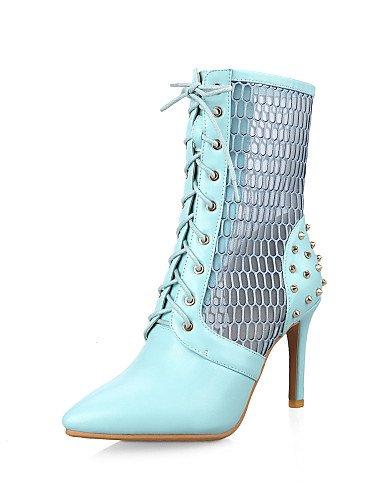 Trabajo Moda Puntiagudos De A Eu38 Blue us7 negro Cn38 Semicuero La Vestido Casual Y Oficina Stiletto Mujer Xzz 5 Zapatos Botas Tacón Uk5 5 z7qx7C4w
