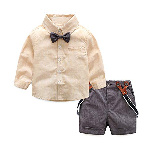 xirubaby Baby Boys Cotton Long Sleeve Bowtie Shirt Short Pants with Suspender Set Outfit (90/12-18 Months, Yellow)