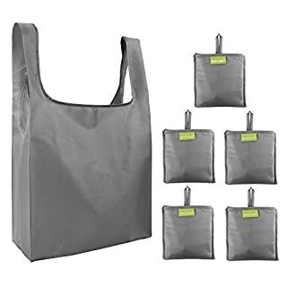 Tote Bags -Reusable-Shopping-Bags Gift Bags with Pocket Ripstop 50LBS 5 Pack Folded Groceries Fashion Compact Bags Machine Washable Bulk Gray