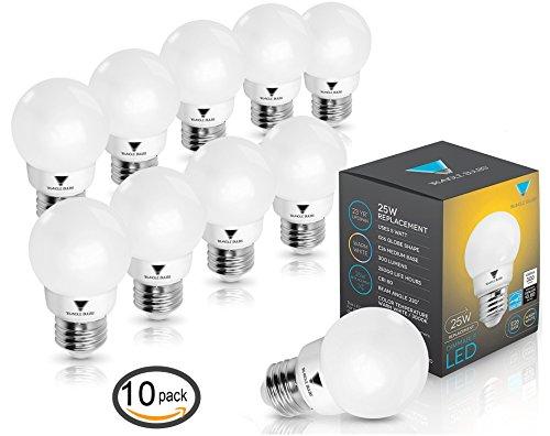 Triangle Bulbs T90020 (Pack of 10) G16 Decorative Globe Light Bulbs 300 Lumen 5-watt LED Light Bulb with E26 Base, Color 3000K, Dimmable, UL Listed, Energy Star - G Watt 60 Type