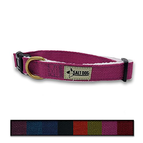 Salt Dog Natural Hemp Collar (Medium, Pink)