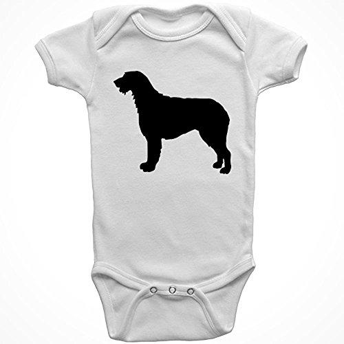Stickerslug White Irish Wolfhound Dog Baby Onesie Cotton Graphic Bodysuit, Size 6 Months ()