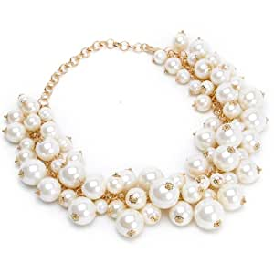 Fashion Gold Tone Chain White Simulated Pearl Beads Cluster Choker Statement Necklace
