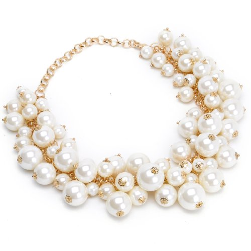 Jerollin Fashion Gold Tone Chain White Simulated Pearl Beads Cluster Choker Statement - Cluster Chain