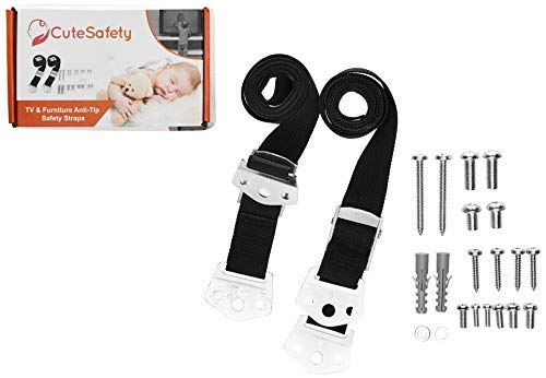 CUTESAFETY TV and Furniture Metal Safety Strap - Anti Tip Heavy Duty Baby Proofing Anchors for Wall Mount Flat Screen TV, Dresser, Cabinet, Bookshelf, Wardrobe - Earthquake Security - 2 Pack