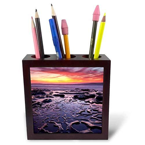 3dRose Danita Delimont - California - USA, California, La Jolla, Sunset at Coast Boulevard Park - 5 inch Tile Pen Holder (ph_314589_1)