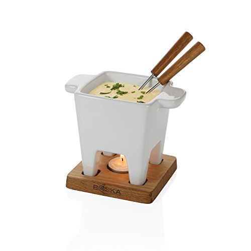 Boska Fondue for Cheese/Tapas in White/Brown/Silver, Stainless Steel 13 x 13 x 14 cm