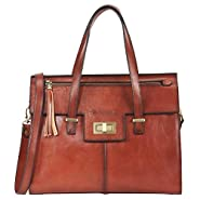Banuce Vintage Full Grain Italian Leather Purses and Handbags for Women Satchel Bag Ladies Tassel Tote Messenger Shoulder Bag Brown
