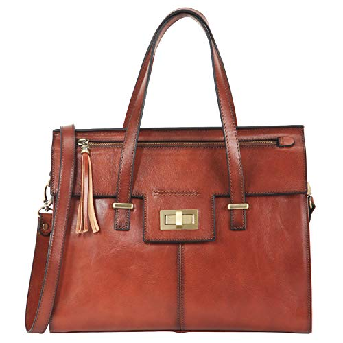 Banuce Vintage Full Grain Italian Leather Purses and Handbags for Women Satchel Bag Ladies Tassel Tote Messenger Shoulder Bag Brown (Leather Detail Flap Satchel Bag)