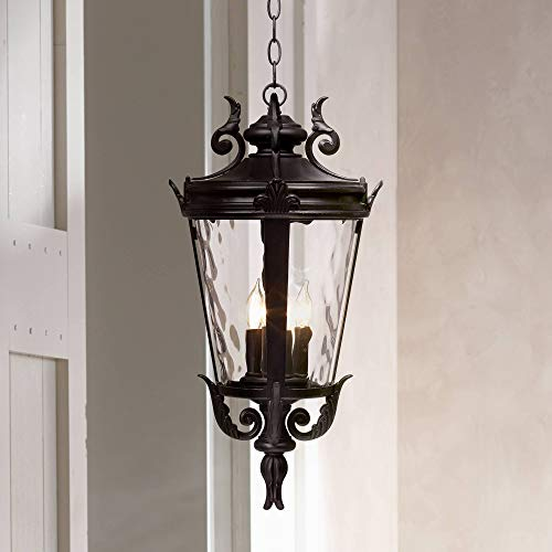 Casa Marseille Traditional Outdoor Ceiling Light Hanging Textured Black 23 3/4