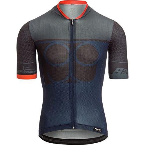 (Santini Men's Sleek 99 Short-Sleeve Jersey, Gray, Large)