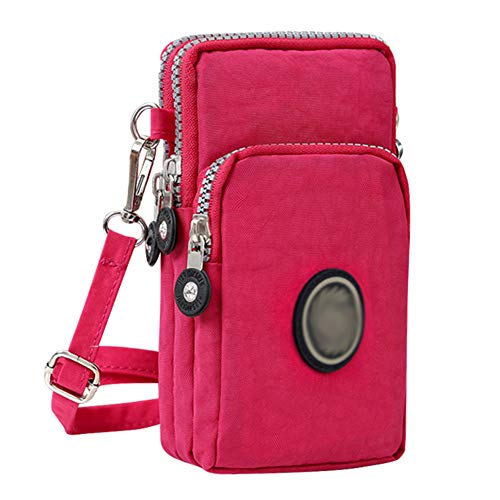 3-Layers Cellphone Pouch Wristlet Purse Waterproof Sports Armband Shoulder Bag Wallet (Rose Pink)
