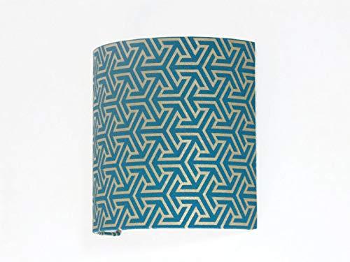 Applique murale motif géométrique bleu canard et or luminaire demi cylindre 1/2 lune idée cadeau anniversaire art décoration taille personnalisée fête des mères