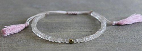 Rose Quartz Beaded Bracelet mother's day gift idea (Bracelets Beaded Rose Quartz)