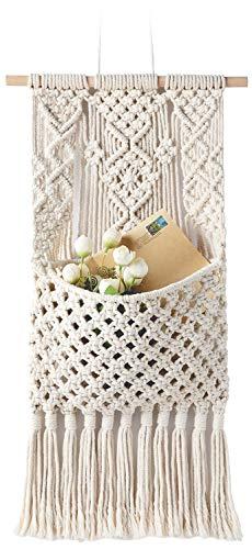 (Mkono Macrame Magazine StorageOrganizer MailHolderWallMount Cotton Wovening Hanging Pocket,Boho Home Decor,Best, Ivory,13