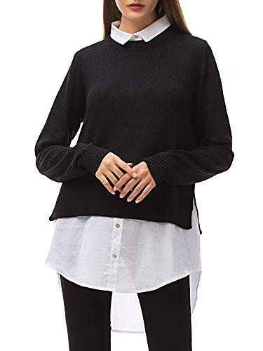 MessBebe Women's Contrast Collar Shirt 2 in 1 Knitting Long Sleeve Curved Hem Casual Work Blouse Tops Black
