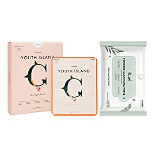 Rael Sheet Masks Value Packs - Real Natural Facial Masks 1 Pack(5 Sheets) and Natural Feminine Wipes 1 Pack by Rael