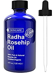 Radha Beauty Rosehip Oil 4 oz - 100% Pure Cold Pressed...