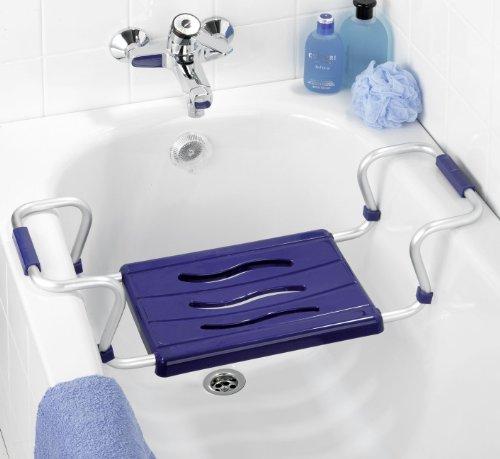 Wenko 7339500 Badewannensitz Secura Blau - ausziehbar, 150 kg Tragkraft, Kunststoff - PP, 55-65 x 18 x 26 cm, Blau