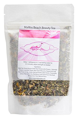 Malibu Beach Beauty Tea 21 day Best Natural Beauty Teatox Drink 1000s of Women use to Glow From the Inside Out, Heal Acne, Curb Cravings, Increase Metabolism, cleanse waste from - Beach The Heal