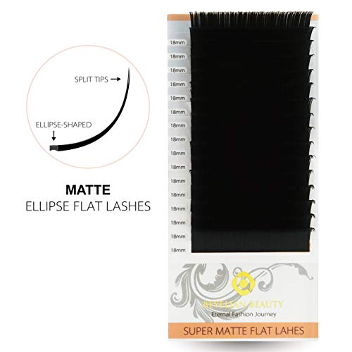 BEYELIAN BEAUTY Super Matte Ellipse Flat Eyelash Extensions Ultra Soft Long Mink Lash Extensions (C 0.15mm 18mm)