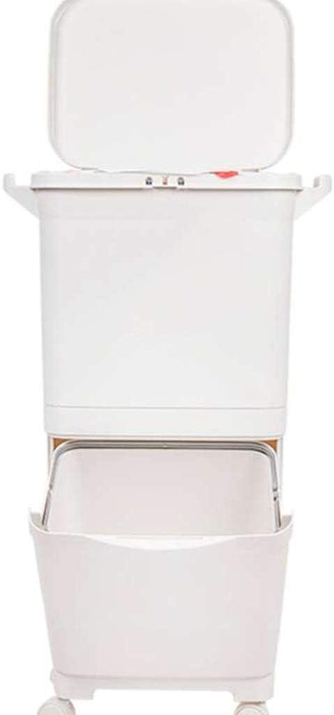 家庭用ゴミ箱キッチンゴミ箱ふた付き広い居間クリエイティブ分類消臭大容量シンプルモダンゴミリサイクル(カラー:ホワイト、サイズ:45L)