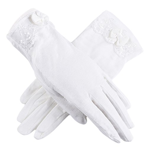 Women Driving Sunscreen Slip Gloves Cotton Gloves Breathable Lace Bow (One size, 2 White)
