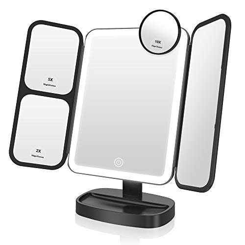 Easehold Makeup Vanity Mirror with Lights 38 LED 1X/2X/5X/10X Magnifying Soft Natural Light Ultra-Thin Stable Base Portable 180 and 90 Rotation Touch Screen Dual Power Supply (Black)