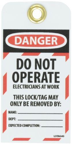 NMC LOTAG40''DANGER - DO NOT OPERATE ELECTRICIANS AT WORK'' Lockout Tag, Unrippable Vinyl, 3'' Length, 6'' Height, Black/Red on White (Pack of 10) by NMC (Image #1)