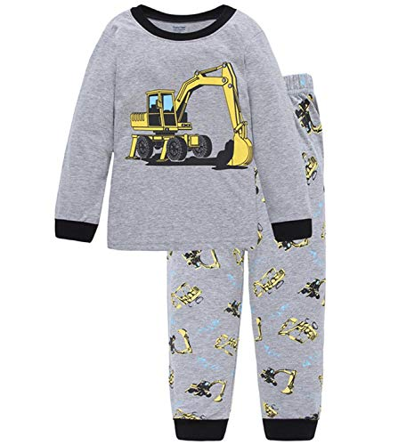 - Boys Pajamas Long Sleeve Toddler Clothes Set Excavator 100% Cotton Little Kids Pjs Sleepwear