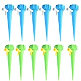 Watering Device, Yezijin 6/12Pcs Plant Self Watering Spikes Adjustable Stakes System Vacation Plant Waterer (12Pcs)