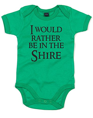 I Would Rather Be In The Shire, Printed Baby Grow - Kelly Green/Black 6-12 Months