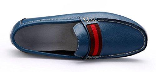 Tda Mens Populära Brittisk Stil Tillfälliga Rund Tå Läder Körning Walking Båt Skor Blå