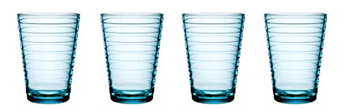 iittala Aalto Set of Four Glass Tumblers Light Blue, 11-Ounce Capacity