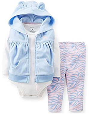 Carters Infant Girls 3 Piece Blue Hoodie Zebra Print Leggings Creeper Shirt