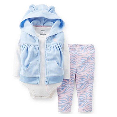 Carter's Infant Girls 3 Piece Set Blue Hoodie Zebra Print...