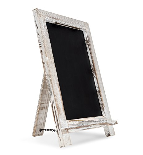 "Rustic Blend - Rustic Magnetic Chalkboard (14"" x 9.5"") Premium White Wooden Framed Decorative Blackboard for Weddings, Bars, Restaurants, Shops, Kitchen Countertops and Farmhouse Style Homes"