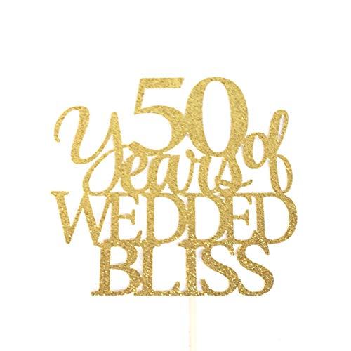 Cake Topper Wedding Gifts 50 Years Of Wedded Bliss 50Th Anniversary Wedding Celebration Topper Marriage Celebration Marriage Anniversary Wedding Cake Topper (Wedding Bliss Cake Topper)