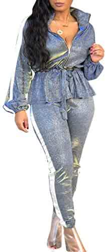 8b4491bb5d Womens Sexy Two Pieces Outfits Long Sleeve Ruffle Night Club Tracksuit Sets