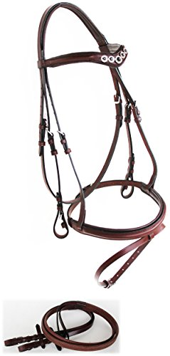 Horse English Leather COB Padded Show Bridle Crystal Bling Full Brown Flash 803S40-C