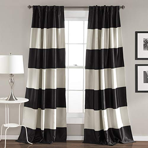 Lush Decor Montego Striped Window Curtains Panel Set for Living, Dining Room, Bedroom (Pair), 84