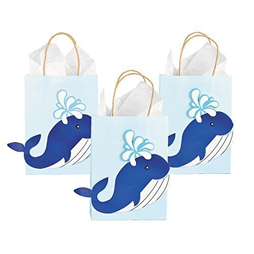 Paper Whale Craft Party Gift Bags - 12 pieces
