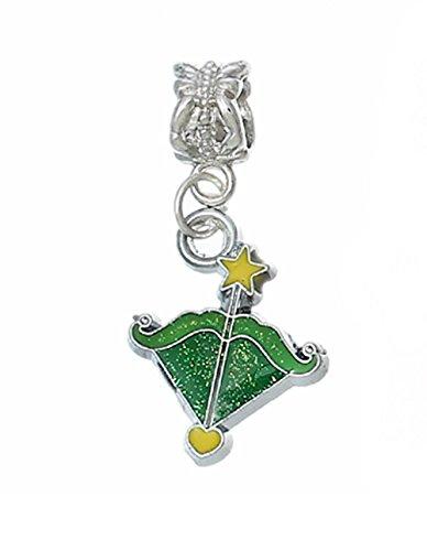 Sagittarius Archer Zodiac Green Enamel Dangle Charm for European Slide Bracelets Crafting Key Chain Bracelet Necklace Jewelry Accessories Pendants