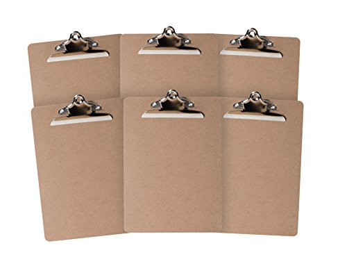 6 Hardboard Clipboards, Heavy Duty Clip, Design for classroom and office use, 6 Clipboards by Blue Summit Supplies