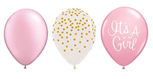15 Count 11 inch PEARL PINK, CONFETTI CLEAR with GOLD DOTS & IT'S a GIRL PINK Baby Shower Party Latex Balloons