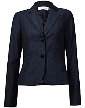 Womens Petites Woven Pinstripe Two-Button Blazer Gray 4P