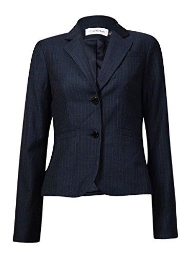 Calvin Klein Womens Petites Woven Pinstripe Two-Button Blazer Gray 4P