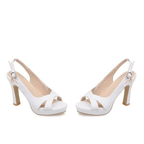 AmoonyFashion Womens Open Toe High Heels Solid Buckle Heeled-Sandals White NUzKwkf