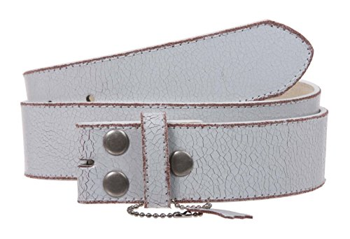 Snap On Plain Crack Print Stitching Edged Vintage Leather Replacement Belt Strap, White   30