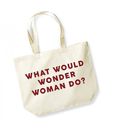 red Tote Natural What Do Print Slogan Cotton Unisex Wonder Would Canvas Woman Bag Kelham AOqXTx